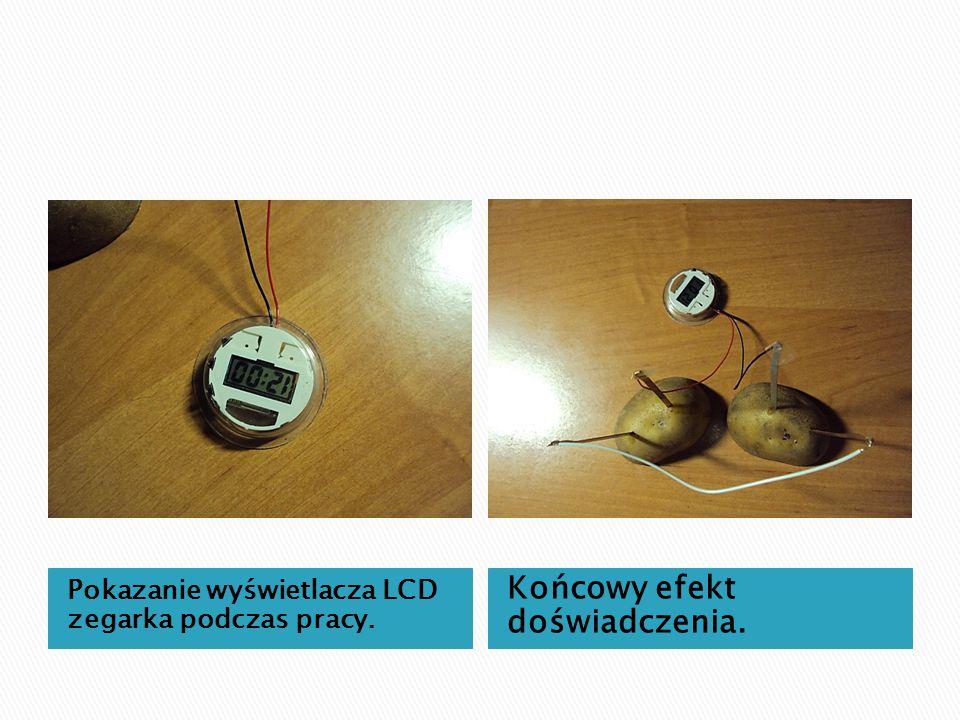 Pokazanie wyświetlacza LCD zegarka podczas pracy. Końcowy efekt doświadczenia.