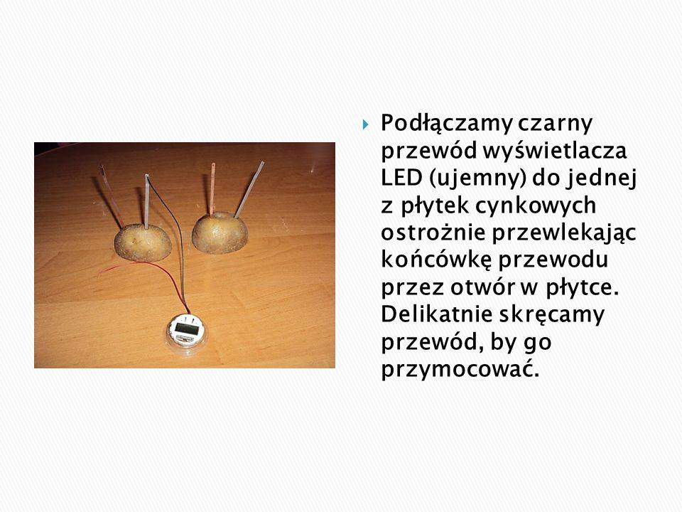  Podłączamy czarny przewód wyświetlacza LED (ujemny) do jednej z płytek cynkowych ostrożnie przewlekając końcówkę przewodu przez otwór w płytce. Deli