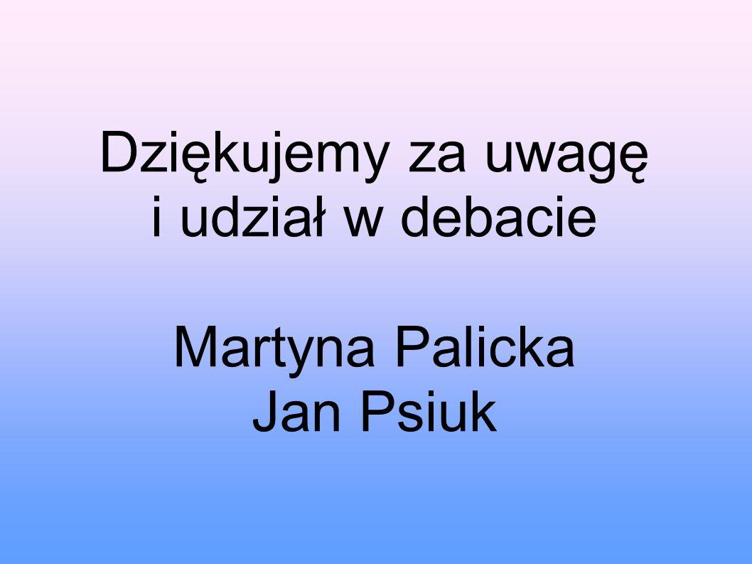 Dziękujemy za uwagę i udział w debacie Martyna Palicka Jan Psiuk