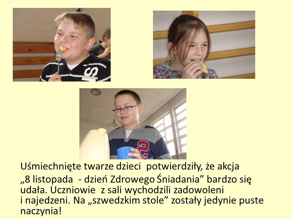 """Uśmiechnięte twarze dzieci potwierdziły, że akcja """"8 listopada - dzień Zdrowego Śniadania"""" bardzo się udała. Uczniowie z sali wychodzili zadowoleni i"""