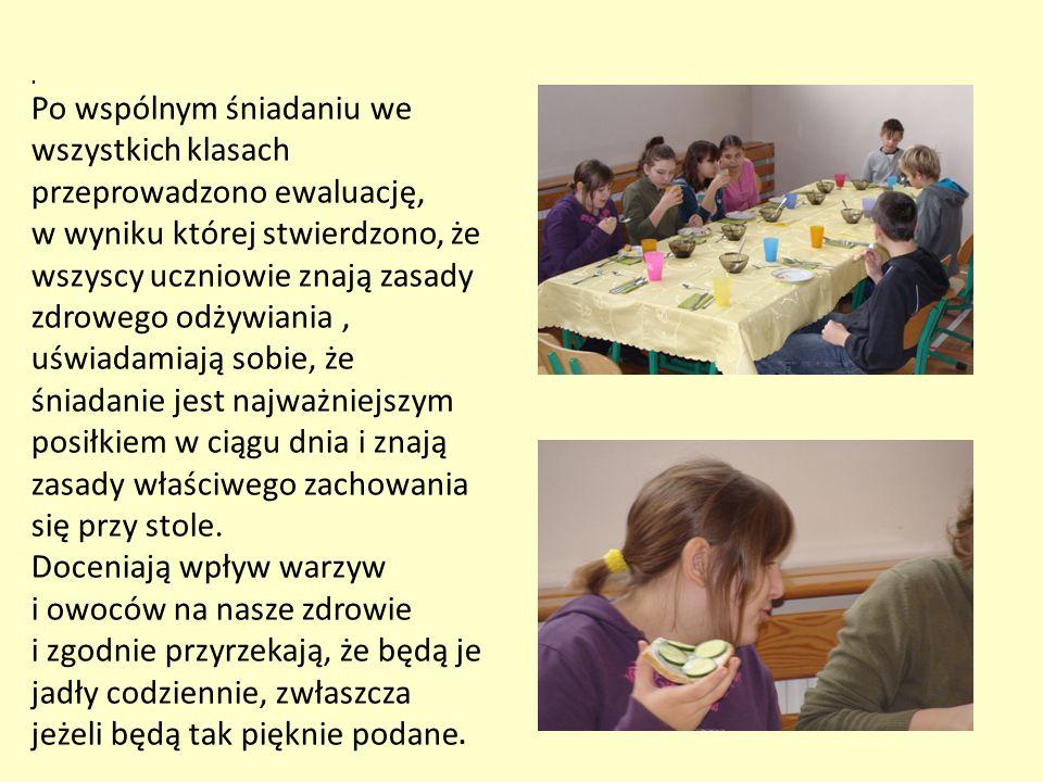 . Po wspólnym śniadaniu we wszystkich klasach przeprowadzono ewaluację, w wyniku której stwierdzono, że wszyscy uczniowie znają zasady zdrowego odżywi