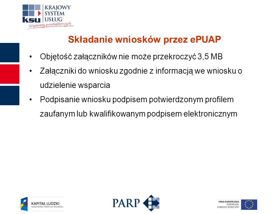 Składanie wniosków przez ePUAP Objętość załączników nie może przekroczyć 3,5 MB Załączniki do wniosku zgodnie z informacją we wniosku o udzielenie wsparcia Podpisanie wniosku podpisem potwierdzonym profilem zaufanym lub kwalifikowanym podpisem elektronicznym