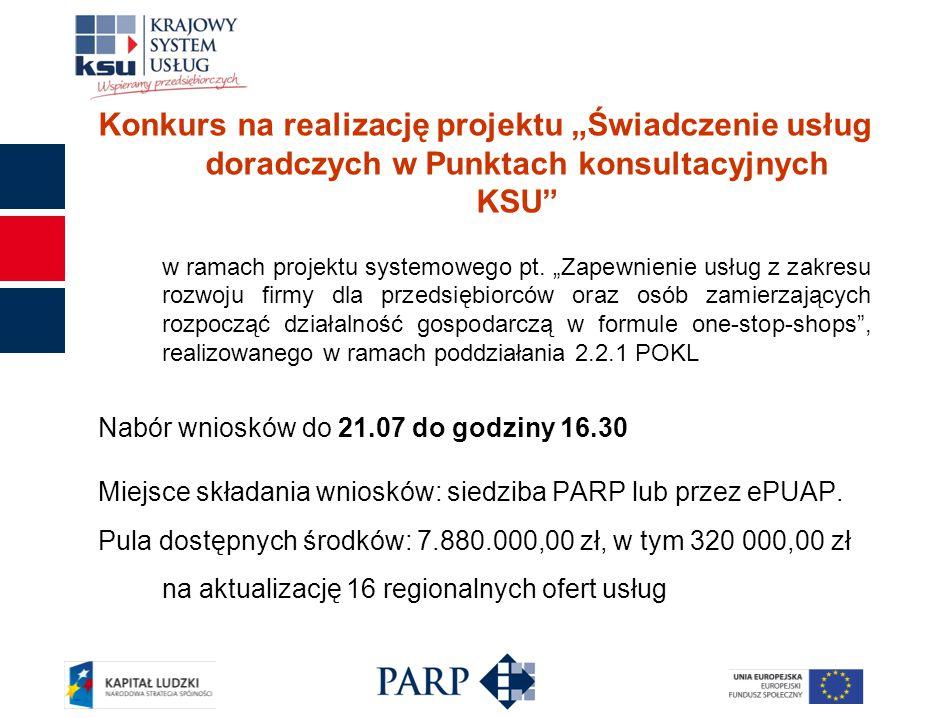 """Konkurs na realizację projektu """"Świadczenie usług doradczych w Punktach konsultacyjnych KSU w ramach projektu systemowego pt."""