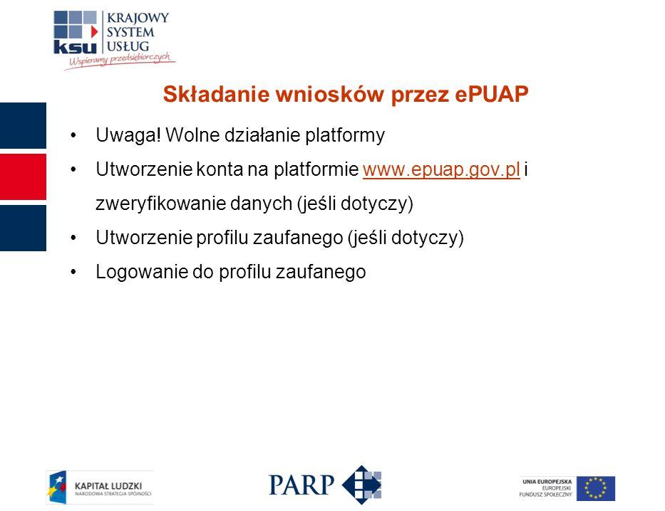 Składanie wniosków przez ePUAP Uwaga.