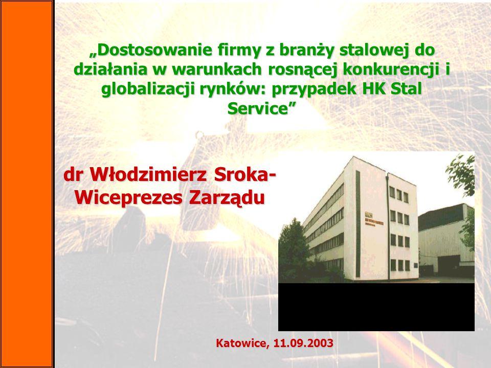 """dr Włodzimierz Sroka- Wiceprezes Zarządu Katowice, 11.09.2003 """"Dostosowanie firmy z branży stalowej do działania w warunkach rosnącej konkurencji i gl"""