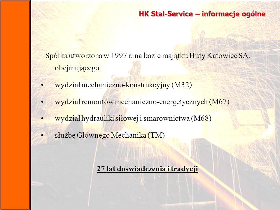 HK Stal-Service – informacje ogólne Spółka utworzona w 1997 r. na bazie majątku Huty Katowice SA, obejmującego: wydział mechaniczno-konstrukcyjny (M32