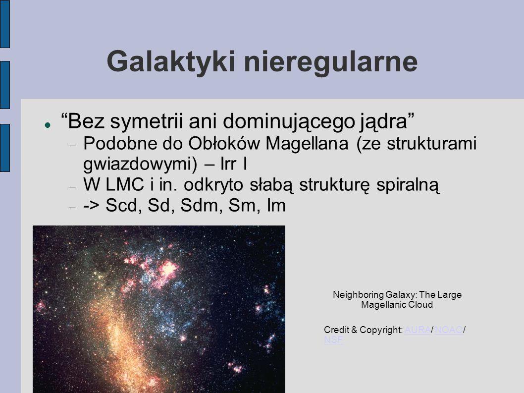 Galaktyki nieregularne Bez symetrii ani dominującego jądra  Podobne do Obłoków Magellana (ze strukturami gwiazdowymi) – Irr I  W LMC i in.