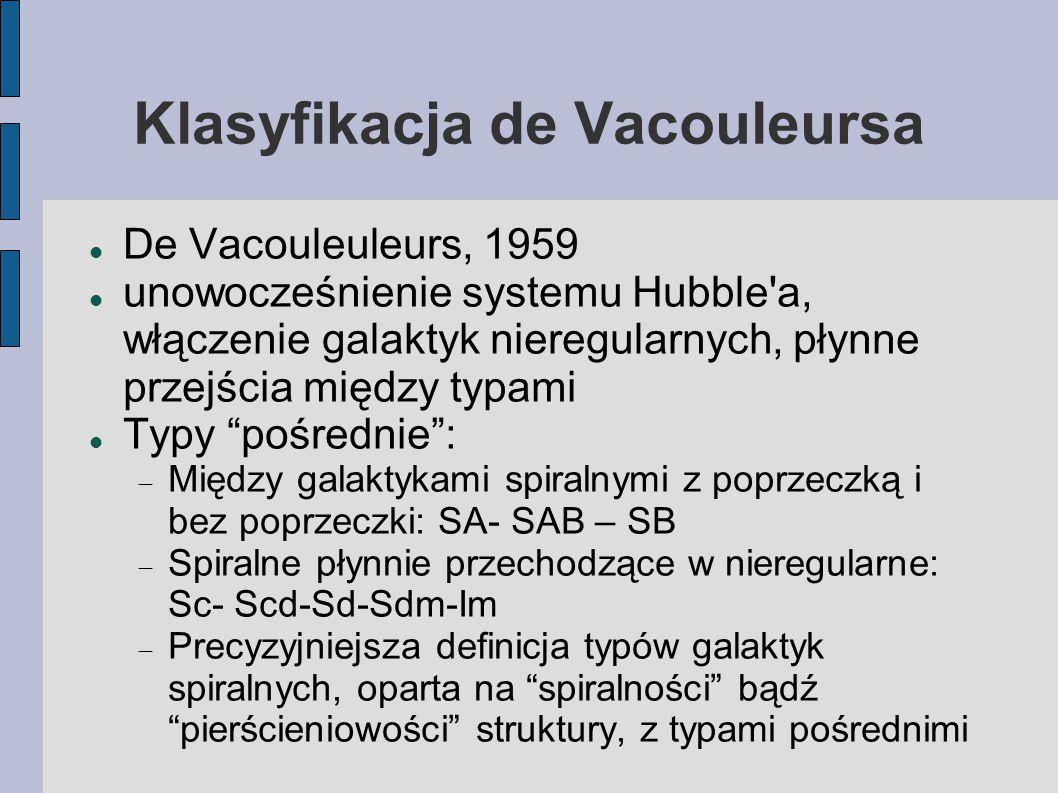 Klasyfikacja de Vacouleursa De Vacouleuleurs, 1959 unowocześnienie systemu Hubble a, włączenie galaktyk nieregularnych, płynne przejścia między typami Typy pośrednie :  Między galaktykami spiralnymi z poprzeczką i bez poprzeczki: SA- SAB – SB  Spiralne płynnie przechodzące w nieregularne: Sc- Scd-Sd-Sdm-Im  Precyzyjniejsza definicja typów galaktyk spiralnych, oparta na spiralności bądź pierścieniowości struktury, z typami pośrednimi