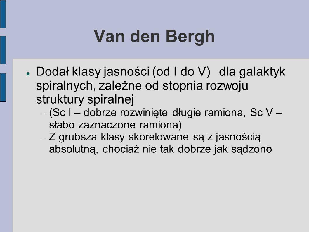 Van den Bergh Dodał klasy jasności (od I do V)dla galaktyk spiralnych, zależne od stopnia rozwoju struktury spiralnej  (Sc I – dobrze rozwinięte długie ramiona, Sc V – słabo zaznaczone ramiona)  Z grubsza klasy skorelowane są z jasnością absolutną, chociaż nie tak dobrze jak sądzono