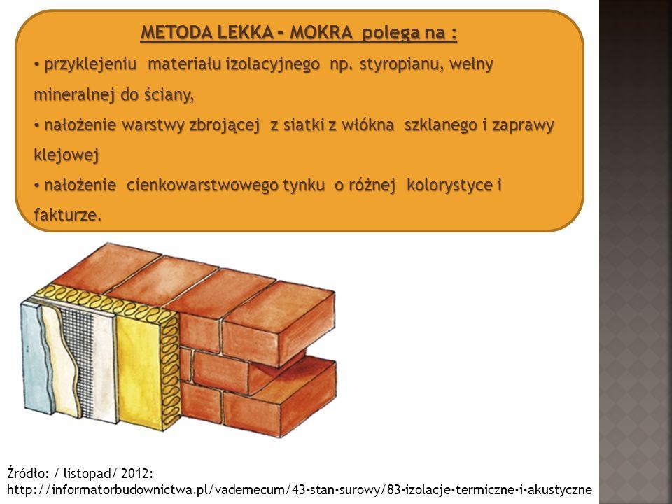 METODA LEKKA – MOKRA polega na : przyklejeniu materiału izolacyjnego np. styropianu, wełny mineralnej do ściany, przyklejeniu materiału izolacyjnego n