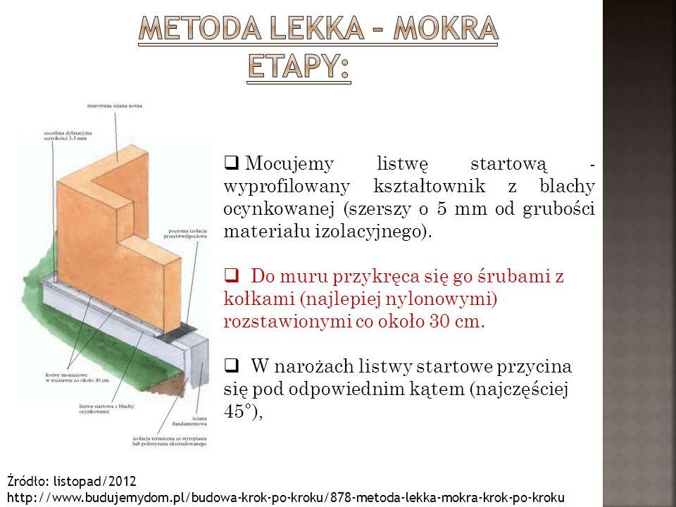 Źródło: listopad/2012 http://www.budujemydom.pl/budowa-krok-po-kroku/878-metoda-lekka-mokra-krok-po-kroku  Płyty o wymiarach 50x100 lub 60x120 cm przykleja się do ściany na zaprawę klejową.