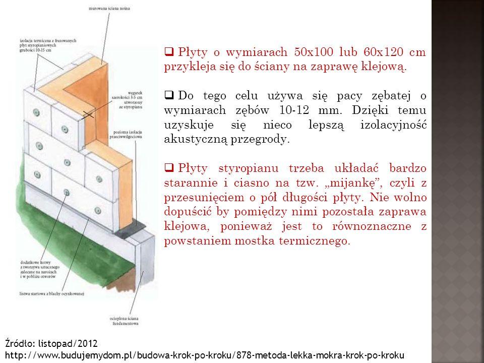 Źródło: listopad/2012 http://www.budujemydom.pl/budowa-krok-po-kroku/878-metoda-lekka-mokra-krok-po-kroku  Płyty o wymiarach 50x100 lub 60x120 cm prz