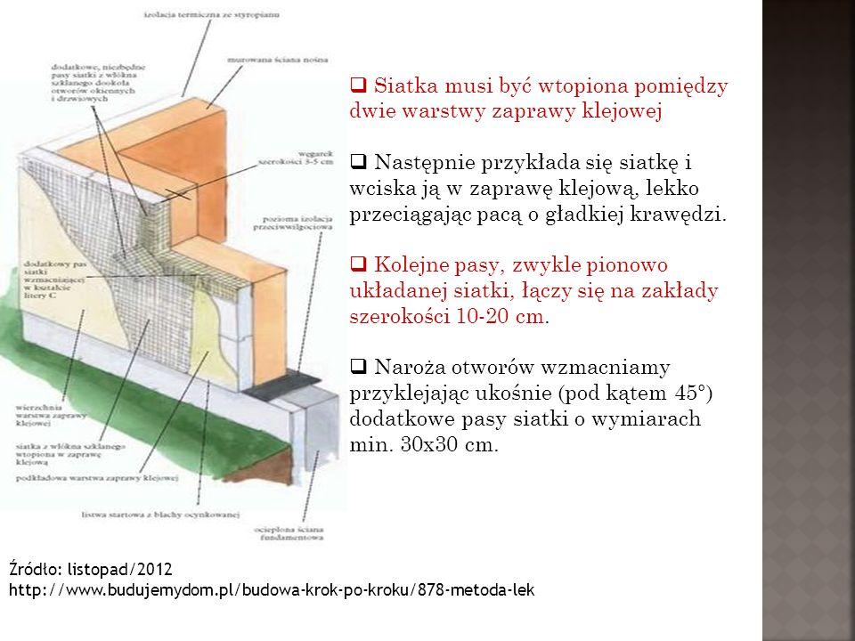 Źródło: listopad/2012 http://www.budujemydom.pl/budowa-krok-po-kroku/878-metoda-lek  Po związaniu i wyschnięciu nośnej warstwy podkładowej można przystąpić do nakładania tynków.