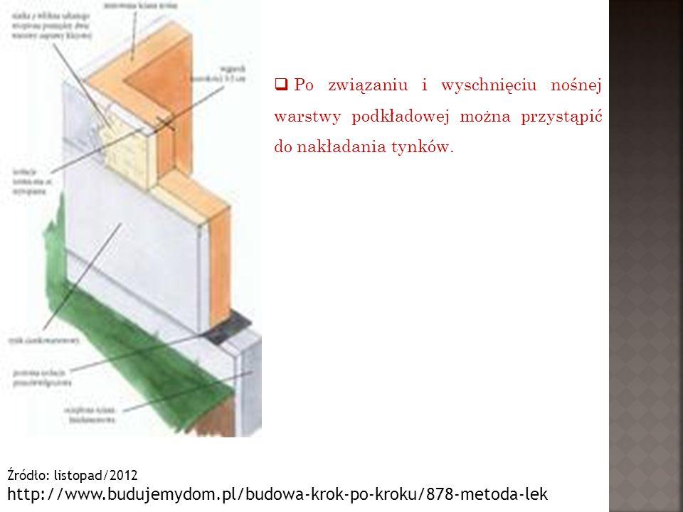 Źródło: listopad/2012 http://www.budujemydom.pl/budowa-krok-po-kroku/878-metoda-lek  Po związaniu i wyschnięciu nośnej warstwy podkładowej można przy