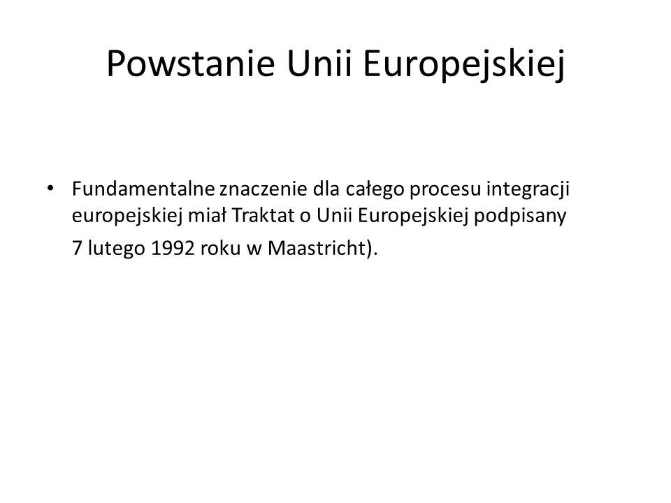 Rozwój UE w latach dziewięćdziesiątych W 1997 roku zawarto Traktat Amsterdamski W lipcu 1997 r.