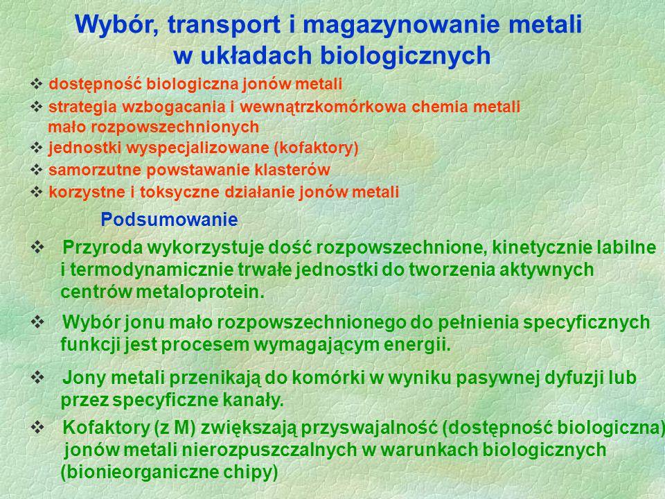 Wybór, transport i magazynowanie metali w układach biologicznych  dostępność biologiczna jonów metali Podsumowanie  Przyroda wykorzystuje dość rozpo