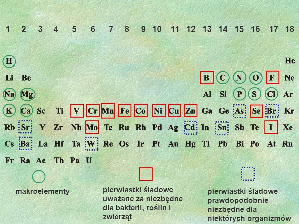 1 2 3 4 5 6 7 8 9 10 11 12 13 14 15 16 17 18 makroelementy pierwiastki śladowe uważane za niezbędne dla bakterii, roślin i zwierząt pierwiastki śladow