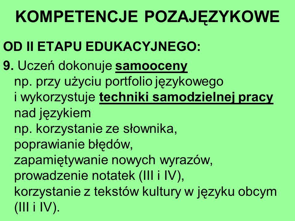 OD II ETAPU EDUKACYJNEGO: 9. Uczeń dokonuje samooceny np. przy użyciu portfolio językowego i wykorzystuje techniki samodzielnej pracy nad językiem np.