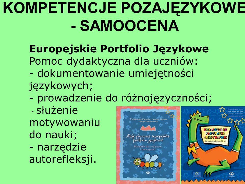 KOMPETENCJE POZAJĘZYKOWE - SAMOOCENA Europejskie Portfolio Językowe Pomoc dydaktyczna dla uczniów: - dokumentowanie umiejętności językowych; - prowadz