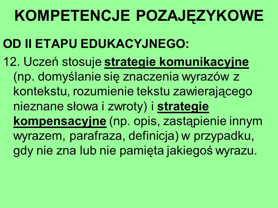 OD II ETAPU EDUKACYJNEGO: 12. Uczeń stosuje strategie komunikacyjne (np. domyślanie się znaczenia wyrazów z kontekstu, rozumienie tekstu zawierającego