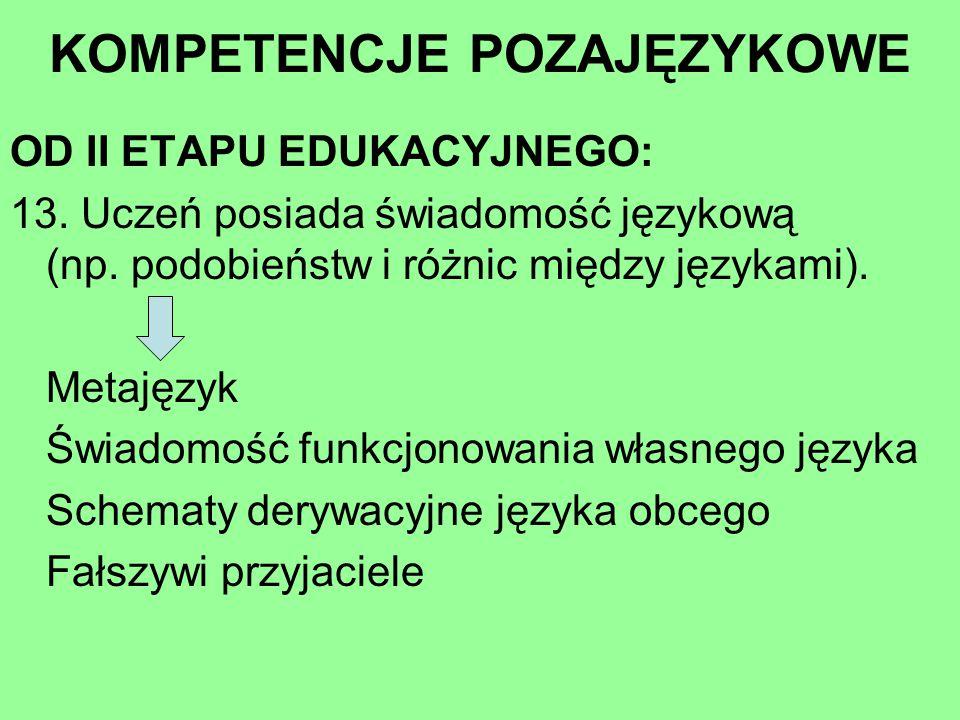OD II ETAPU EDUKACYJNEGO: 13. Uczeń posiada świadomość językową (np. podobieństw i różnic między językami). Metajęzyk Świadomość funkcjonowania własne