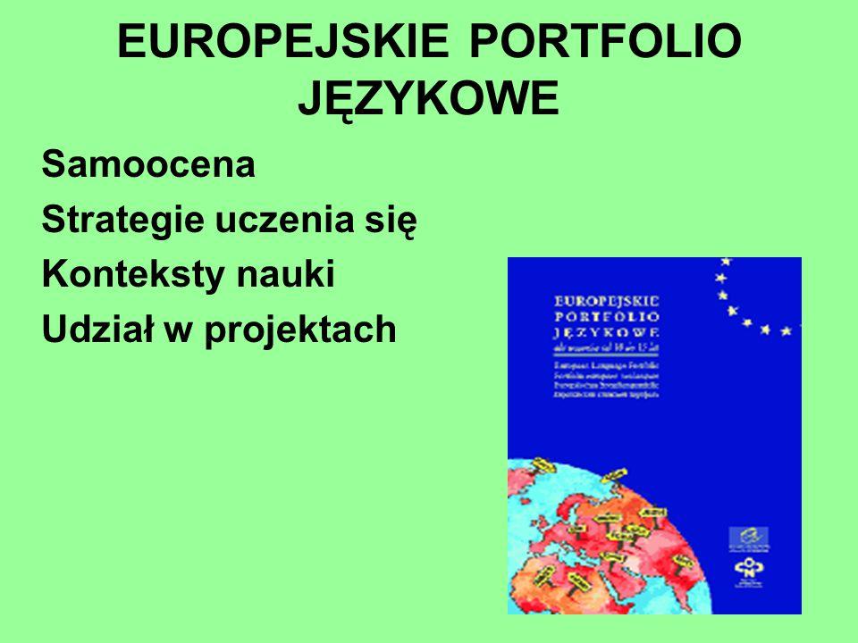 Samoocena Strategie uczenia się Konteksty nauki Udział w projektach EUROPEJSKIE PORTFOLIO JĘZYKOWE
