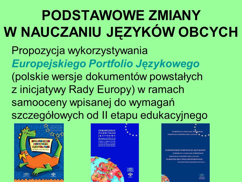 Propozycja wykorzystywania Europejskiego Portfolio Językowego (polskie wersje dokumentów powstałych z inicjatywy Rady Europy) w ramach samooceny wpisa