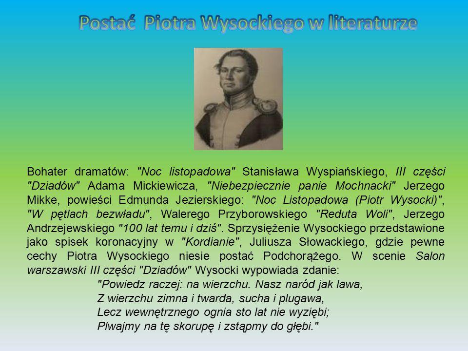 Pamiętnik Piotra Wysockiego Wysocki jest autorem Pamiętnika Piotra Wysockiego o powstaniu 29 listopada 1830 roku .