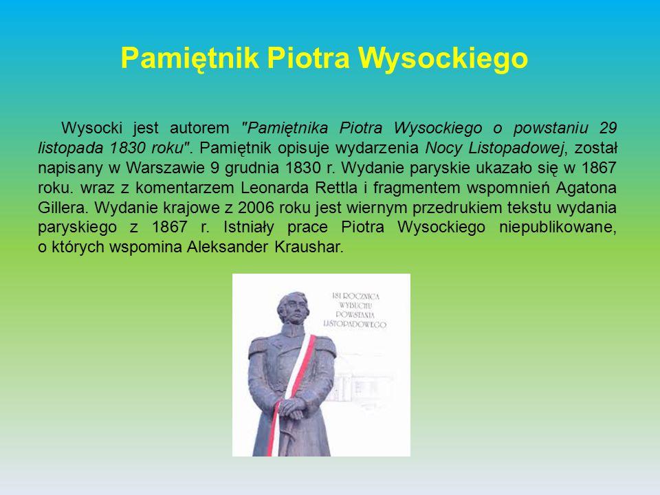 Pamiętnik Piotra Wysockiego Wysocki jest autorem