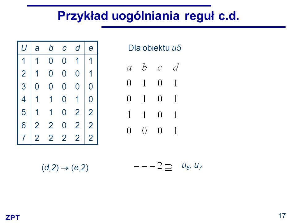 ZPT 17 Przykład uogólniania reguł c.d. Uabcde 110011 210001 300000 411010 511022 622022 722222 (d,2)  (e,2) Dla obiektu u5 u 6, u 7