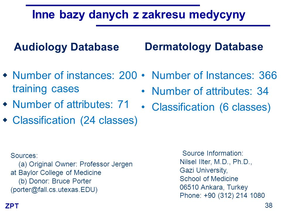 ZPT Audiology Database  Number of instances: 200 training cases  Number of attributes: 71  Classification (24 classes) Sources: (a) Original Owner: Professor Jergen at Baylor College of Medicine (b) Donor: Bruce Porter (porter@fall.cs.utexas.EDU) Dermatology Database Number of Instances: 366 Number of attributes: 34 Classification (6 classes) Source Information: Nilsel Ilter, M.D., Ph.D., Gazi University, School of Medicine 06510 Ankara, Turkey Phone: +90 (312) 214 1080 Inne bazy danych z zakresu medycyny 38