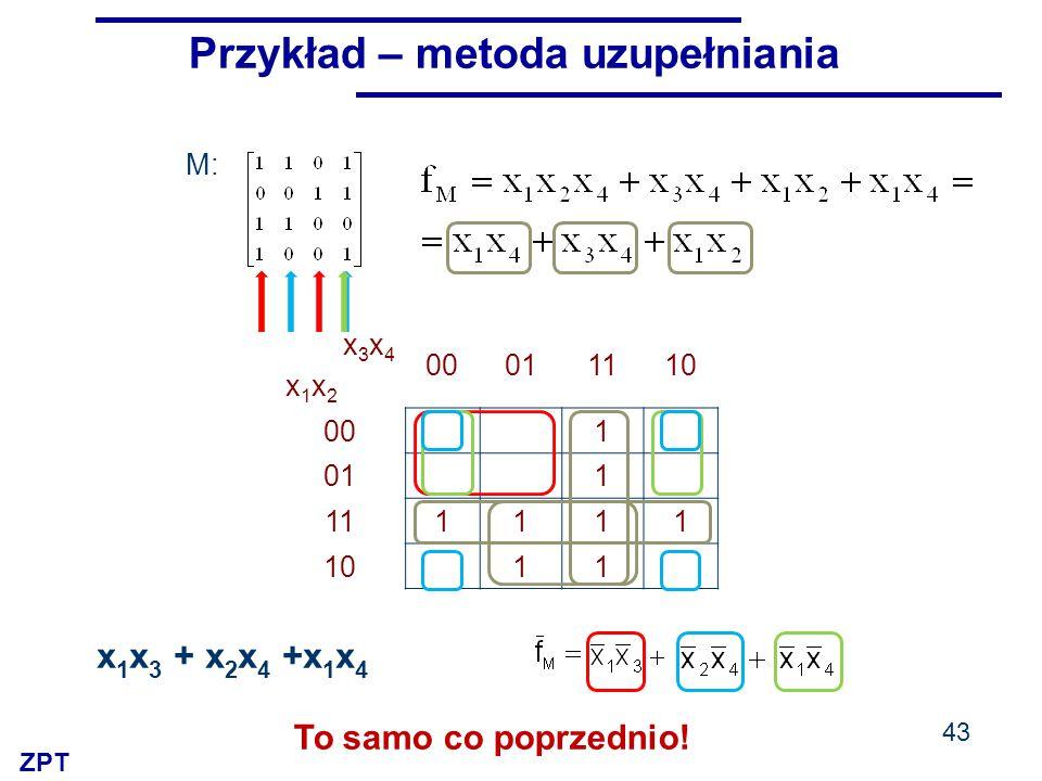 ZPT x3x4x1x2x3x4x1x2 00011110 00 1 01 1 111111 10 11 M: 43 Przykład – metoda uzupełniania x 1 x 3 + x 2 x 4 +x 1 x 4 To samo co poprzednio!