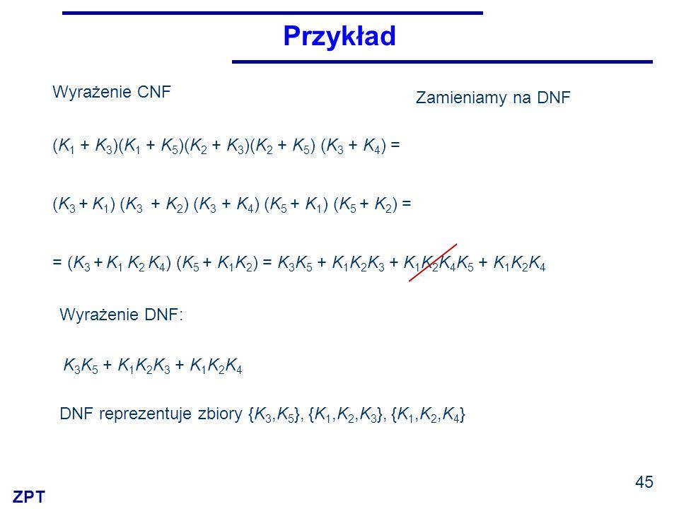 ZPT Przykład 45 (K 1 + K 3 )(K 1 + K 5 )(K 2 + K 3 )(K 2 + K 5 ) (K 3 + K 4 ) = Wyrażenie DNF: K 3 K 5 + K 1 K 2 K 3 + K 1 K 2 K 4 DNF reprezentuje zbiory {K 3,K 5 }, {K 1,K 2,K 3 }, {K 1,K 2,K 4 } Zamieniamy na DNF Wyrażenie CNF (K 3 + K 1 ) (K 3 + K 2 ) (K 3 + K 4 ) (K 5 + K 1 ) (K 5 + K 2 ) = = (K 3 + K 1 K 2 K 4 ) (K 5 + K 1 K 2 ) = K 3 K 5 + K 1 K 2 K 3 + K 1 K 2 K 4 K 5 + K 1 K 2 K 4