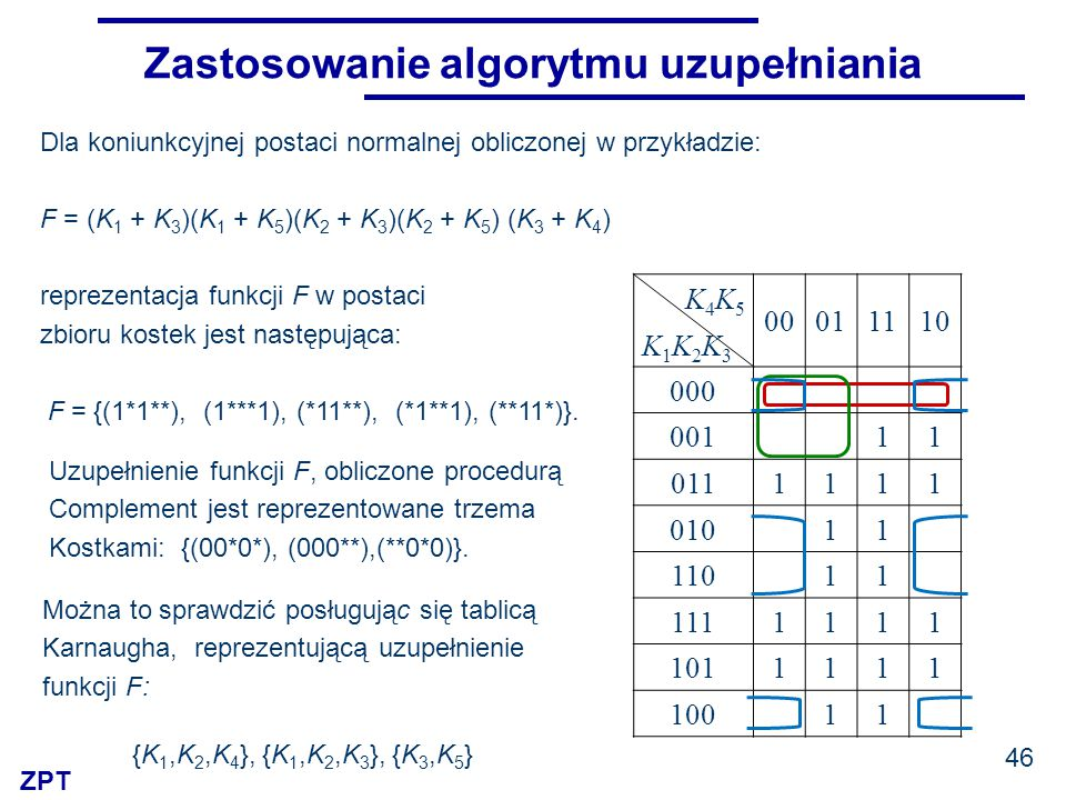 ZPT Zastosowanie algorytmu uzupełniania Dla koniunkcyjnej postaci normalnej obliczonej w przykładzie: F = (K 1 + K 3 )(K 1 + K 5 )(K 2 + K 3 )(K 2 + K 5 ) (K 3 + K 4 ) reprezentacja funkcji F w postaci zbioru kostek jest następująca: F = {(1*1**), (1***1), (*11**), (*1**1), (**11*)}.