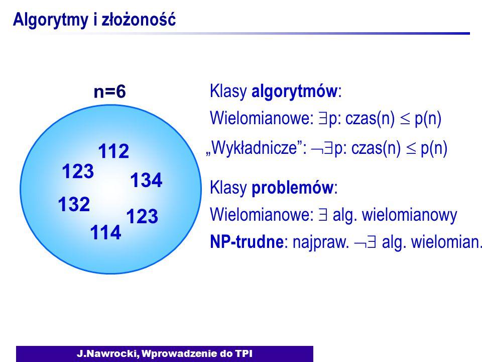 """J.Nawrocki, Wprowadzenie do TPI Algorytmy i złożoność Klasy algorytmów : Wielomianowe:  p: czas(n)  p(n) """"Wykładnicze"""":  p: czas(n)  p(n) Klasy p"""