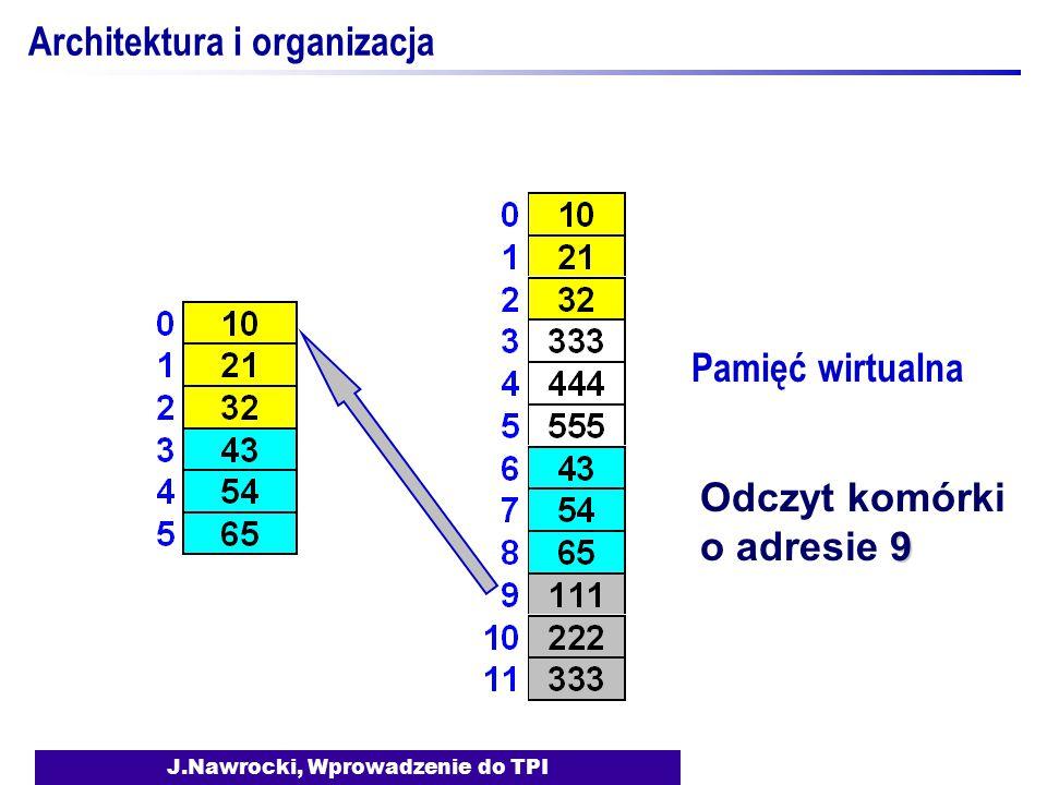 J.Nawrocki, Wprowadzenie do TPI Architektura i organizacja Pamięć wirtualna 9 Odczyt komórki o adresie 9