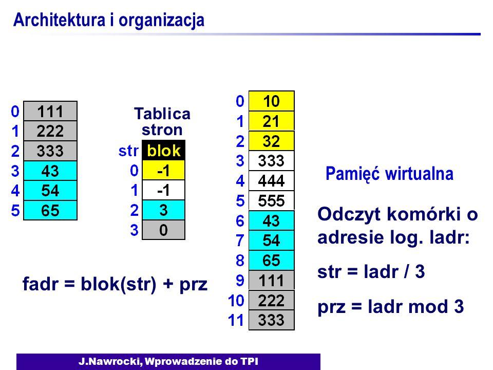 J.Nawrocki, Wprowadzenie do TPI Architektura i organizacja Pamięć wirtualna Tablica stron fadr = blok(str) + prz Odczyt komórki o adresie log. ladr: s
