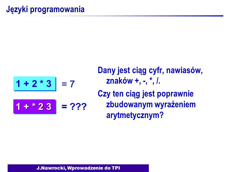 J.Nawrocki, Wprowadzenie do TPI Języki programowania Dany jest ciąg cyfr, nawiasów, znaków +, -, *, /. Czy ten ciąg jest poprawnie zbudowanym wyrażeni