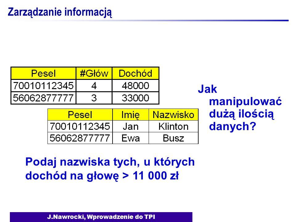 J.Nawrocki, Wprowadzenie do TPI Zarządzanie informacją Jak manipulować dużą ilością danych? Podaj nazwiska tych, u których dochód na głowę > 11 000 zł