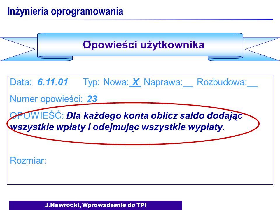 J.Nawrocki, Wprowadzenie do TPI Inżynieria oprogramowania Data: 6.11.01 Typ: Nowa: X Naprawa:__ Rozbudowa:__ Numer opowieści: 23 OPOWIEŚĆ: Dla każdego