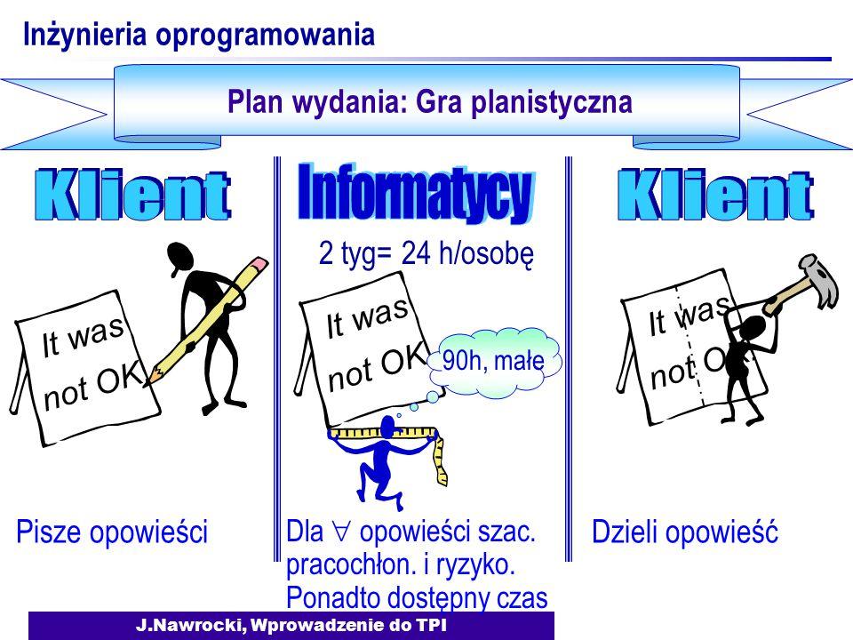 J.Nawrocki, Wprowadzenie do TPI Inżynieria oprogramowania Plan wydania: Gra planistyczna Pisze opowieści It was not OK. Dzieli opowieść It was not OK.
