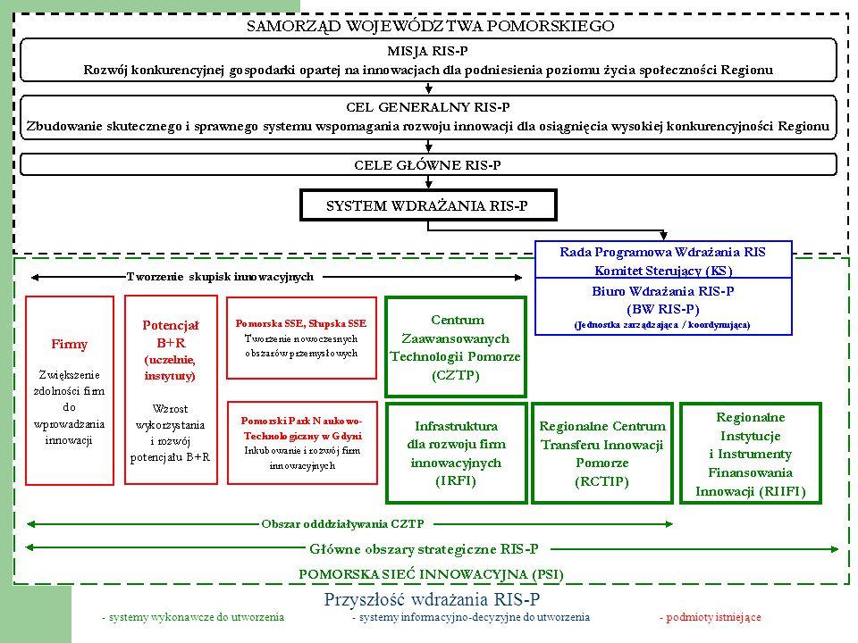 - systemy wykonawcze do utworzenia- systemy informacyjno-decyzyjne do utworzenia- podmioty istniejące Przyszłość wdrażania RIS-P