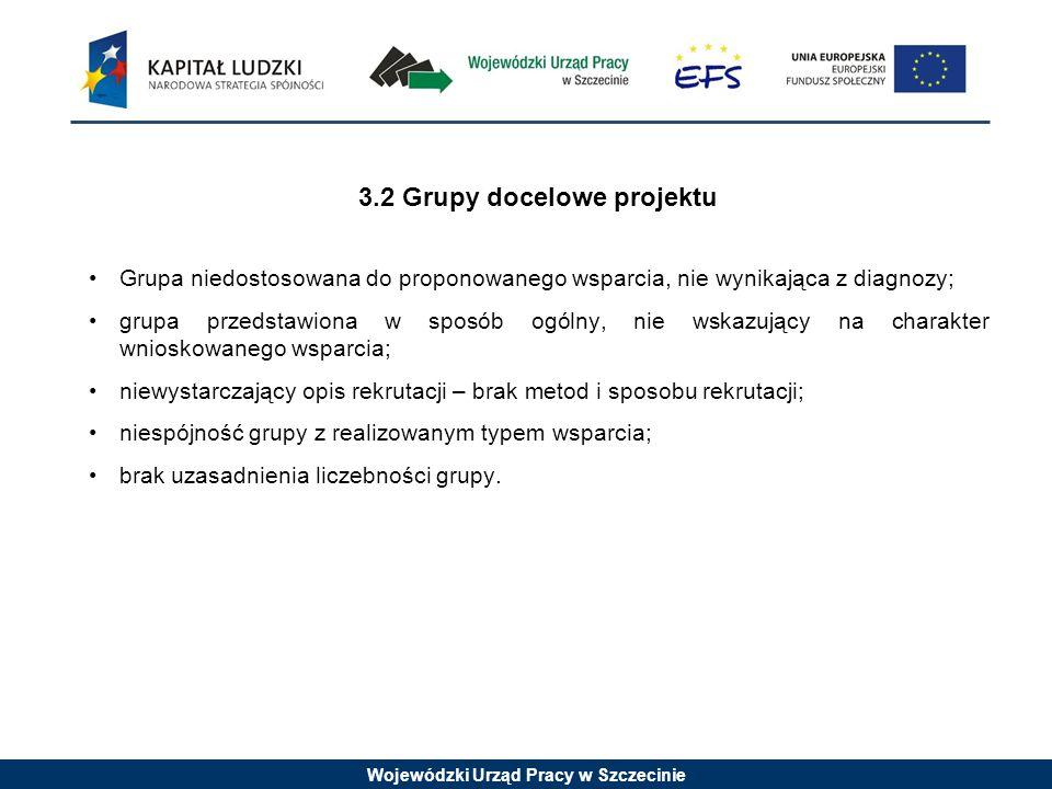 Wojewódzki Urząd Pracy w Szczecinie 3.2 Grupy docelowe projektu Grupa niedostosowana do proponowanego wsparcia, nie wynikająca z diagnozy; grupa przedstawiona w sposób ogólny, nie wskazujący na charakter wnioskowanego wsparcia; niewystarczający opis rekrutacji – brak metod i sposobu rekrutacji; niespójność grupy z realizowanym typem wsparcia; brak uzasadnienia liczebności grupy.
