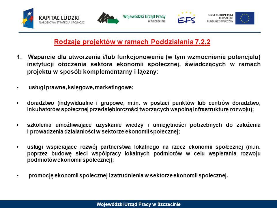 Wojewódzki Urząd Pracy w Szczecinie Rodzaje projektów w ramach Poddziałania 7.2.2 1.