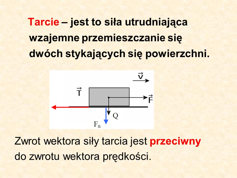 Tarcie – jest to siła utrudniająca wzajemne przemieszczanie się dwóch stykających się powierzchni.