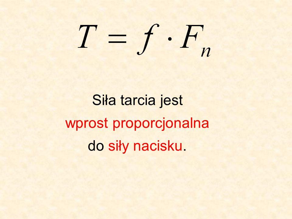 Siła tarcia jest wprost proporcjonalna do siły nacisku.