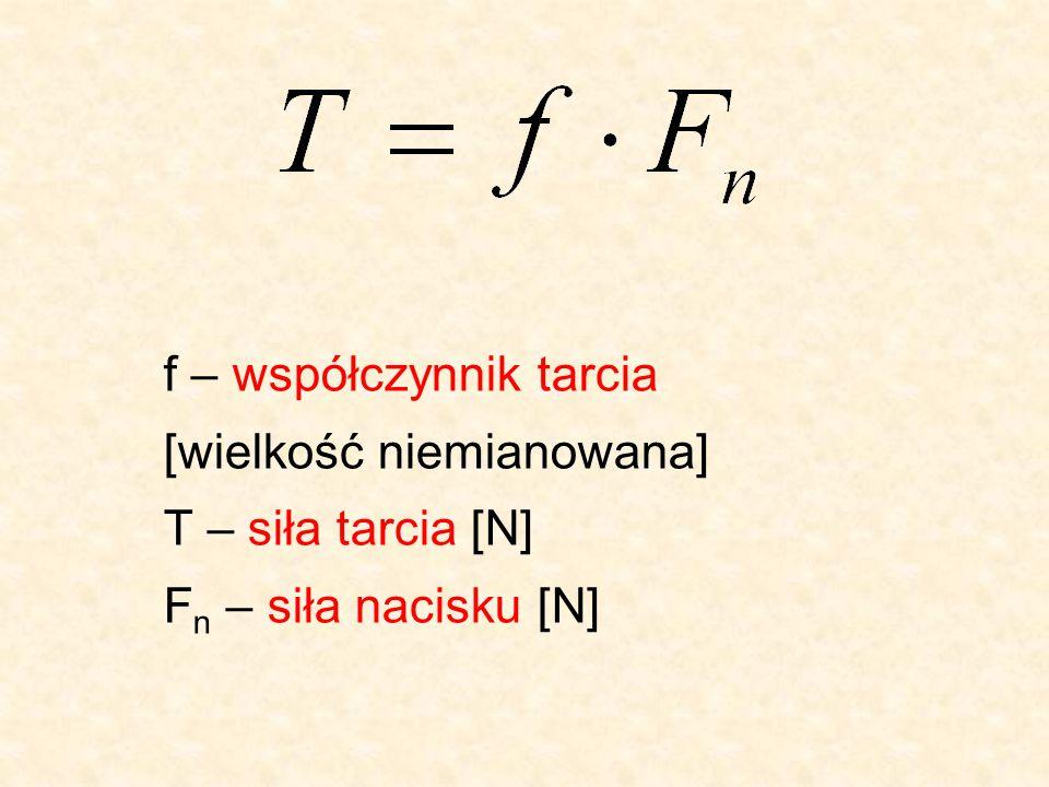 f – współczynnik tarcia [wielkość niemianowana] T – siła tarcia [N] F n – siła nacisku [N]