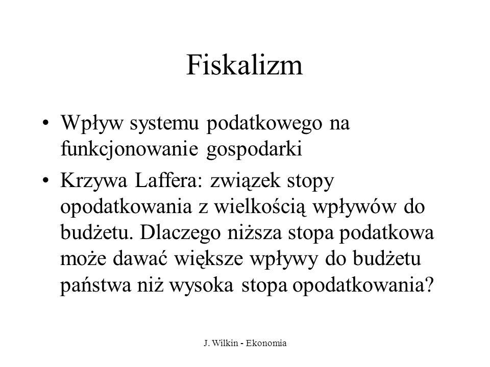 J. Wilkin - Ekonomia Fiskalizm Wpływ systemu podatkowego na funkcjonowanie gospodarki Krzywa Laffera: związek stopy opodatkowania z wielkością wpływów