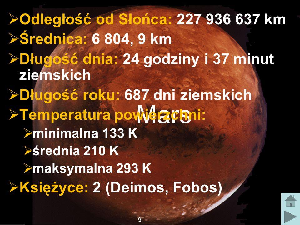 Mars  Odległość od Słońca: 227 936 637 km  Średnica: 6 804, 9 km  Długość dnia: 24 godziny i 37 minut ziemskich  Długość roku: 687 dni ziemskich  Temperatura powierzchni:  minimalna 133 K  średnia 210 K  maksymalna 293 K  Księżyce: 2 (Deimos, Fobos) 9