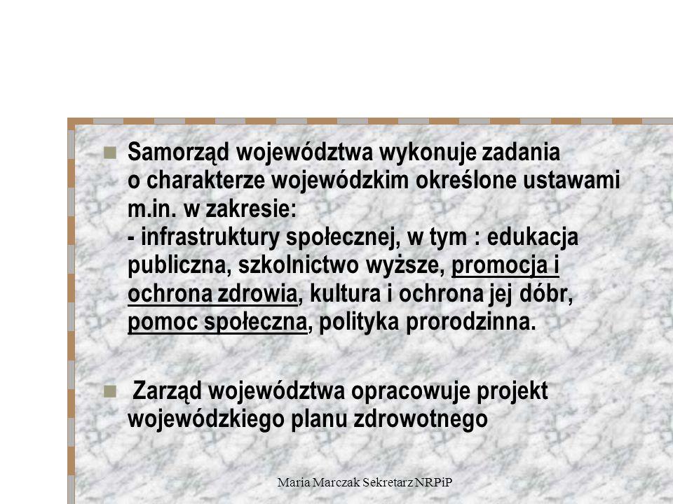 Maria Marczak Sekretarz NRPiP Samorząd województwa wykonuje zadania o charakterze wojewódzkim określone ustawami m.in. w zakresie: - infrastruktury sp